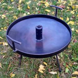 Сковорода мангал (50см) с крышкой и отверстием для быстрого приготовления походная